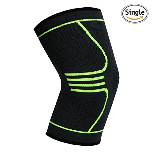 Compression Knee Brace Knee Sleeve Support for Sports, Running, Jogging, Basketball, Joint Pain Relief, Arthritis and Injury Recovery, Men and Women, Green, Single