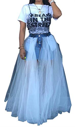 Women Summer Causal Sexy Sheer Mesh Aline Pleated Maxi Long Denim Jean Skirts Pockets Party Clubwear
