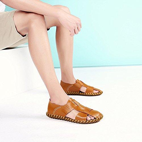 per da chiusi tempo spiaggia sandali per traspiranti pelle regolabili in adatti assorbenti sudore pelle coperto in uomo Yellow sandali Sandali il da all'aperto al e antiscivolo uomo libero Sandali la PFZwnOqSZ