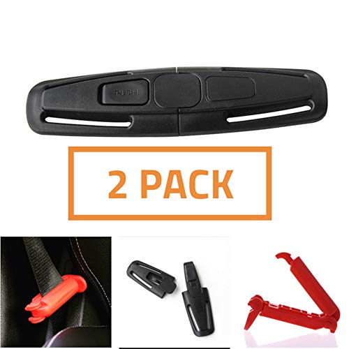 Car Seat Chest Harness Clip and Car Seat Safety Belt Clip Buckle for Baby and Kids Trend, Adjustable Universal Replacement Guard,(2 Pack) ()
