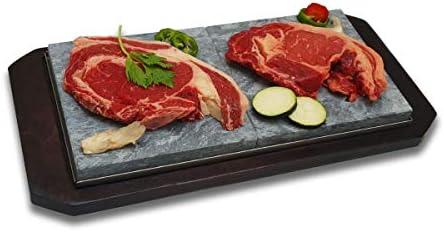 Piedrasar Piedra de 20x40 cm para carne Modelo Bandeja 2P: Amazon.es