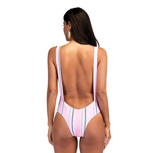 CHENGYANG Frauen Einteiler Tiefer V-Ausschnitt Monokini Bikini Bademode Bodycon Badeanzug Pink 3C8ELi8mK