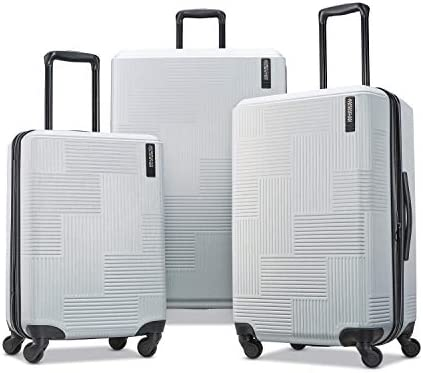American Tourister Stratum XLT Expandable Hardside Luggage with Spinner Wheels, Bright Silver, 3-Piece Set (20/24/28)