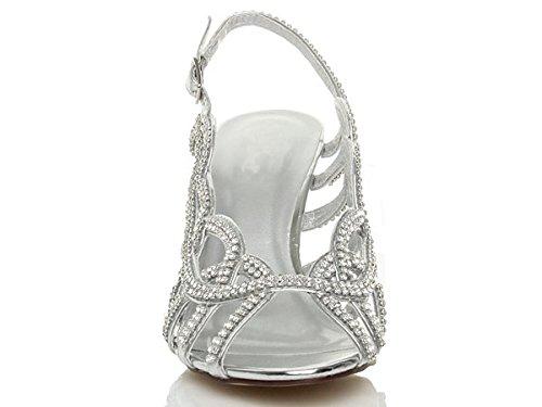 arrière talon Femmes sandales strass haut pointure mariage lanières Argent bride YFUxqw17SU