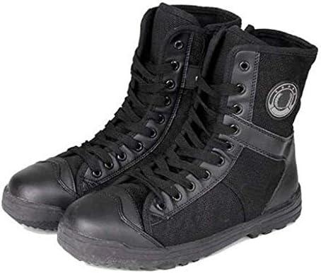 滑り止めのための男性ハイキングブーツ通気性アッパーレースアップスタイルハイトップハイトラクショングリップラバーソールのための砂漠の戦闘ブーツは耐久性のある屋外の快適さを耐摩耗性 (色 : 黒, サイズ : 27 CM)