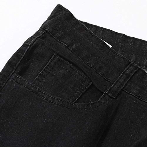 Pantalones Slim R Pants Ocio Pants Jeans Closure Destruido Hombres Hombres Pantalones Negro Agujero Denim Pants Nerce Fit Denim Nge para Sport nP4Yxwqv