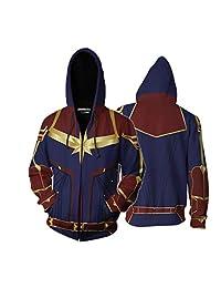 Captain Hoodie Avengers Cosplay Costume Endgame Zip Up Jacket Sweatshirt Coat With Pockets