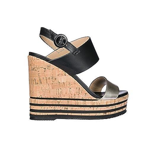 66bbbfe345f08 Hogan Zapatos Cuñas Plataformas Mujer EN Piel Nuevo h361 Negro Barato