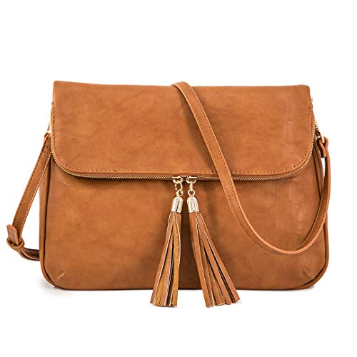 - EMPERIA Women's Fold Flap Tassel Zipper Leather Crossbody Bag Purse