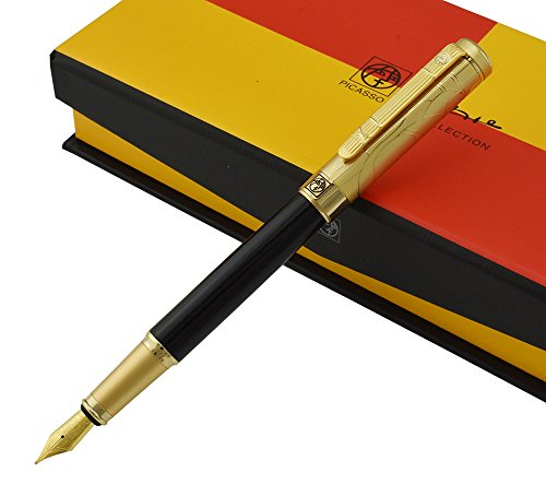 Picasso 24K Gold Plated Cap Fountain Pen Medium Nib Point, Awesome Apperance, Black Barrel Collection Signature Gift Pen