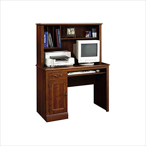 Sauder 101736 Camden County Computer Desk with Hutch, L: 43.47'' x W: 19.72'' x H: 56.30'', Planked Cherry finish by Sauder