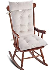 Big Hippo Rocking Chair Cushion,Thicken Cotton Rocking Chair Pads with Ties Soft Seat Pads Cushion Pillow for Indoor, Outdoor, Office, Home, Rocking Chairs(Beige)