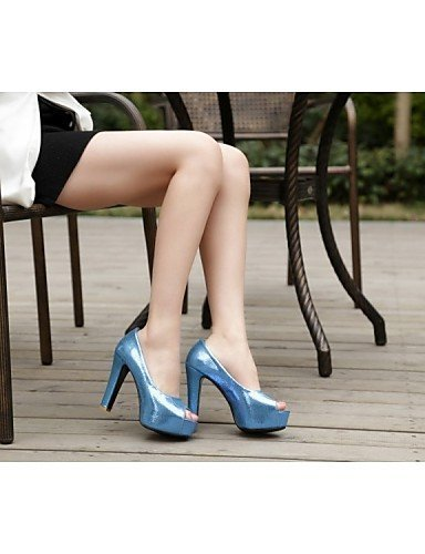 ShangYi Womens Shoes Faux Leather Platform Peep Toe Sandals Office & Career/Casual Blue/Red/Gold Red