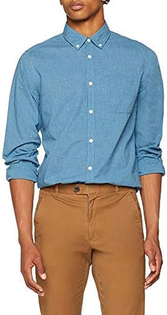 Springfield Solid Melange CC Camisa Casual, Azul (Gama Azules ...