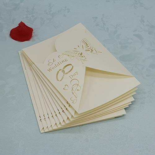 Yu2d  20 Pcs Delicate Carved Romantic Wedding Party Invitation Card Envelope H(Beige) ()