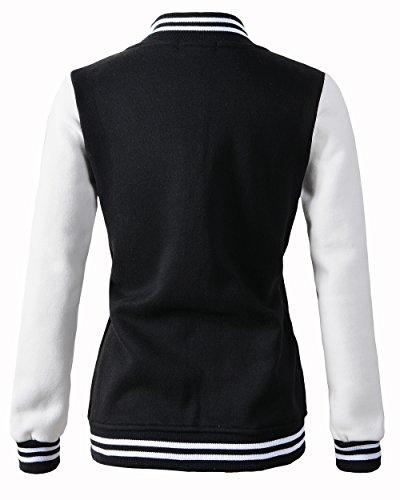 Review Benibos Women Varsity Jacket Casual Loose Hoodie (US:S/Tag L, Black)