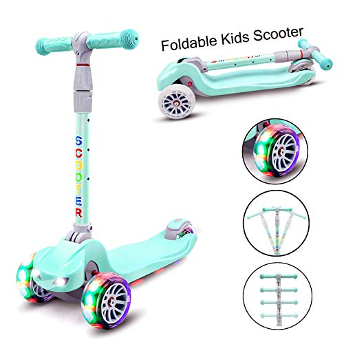 YX Kick Scooter for Kids 3 Wheel Toddlers Scooter 4 Adjustable Height Lean to Steer with PU Flashing Wheels for Boys Girls from 3 to 14 Years Old (Light Blue)