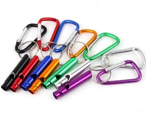 XIAOL HOME Generic 5Pcs Set Keyring Caribiners Snap On Clip Plus Whistle Keychain
