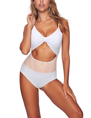 Lover-Beauty Tummy Control Swimsuit One Piece Push up Slimming Retro Bathing Suit White M