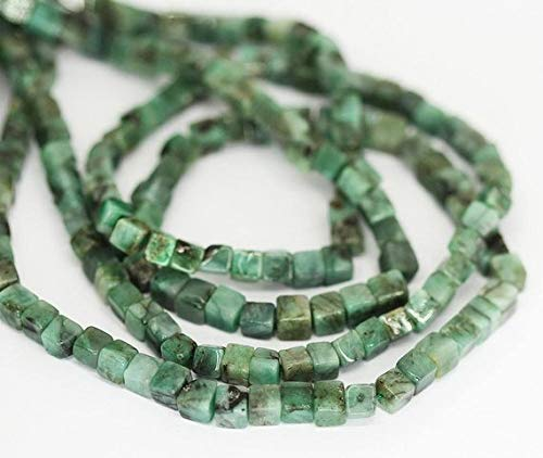 Beads Bazar Natural Beautiful jewellery Green Emerald Smooth Square Box Cube Gemstone Loose Craft Beads Strand 16