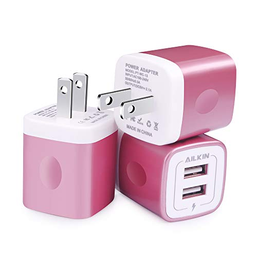 Price comparison product image USB Charging Box, Charger Adapter, Ailkin 3-Pack 2.1Amp Dual Port Fast Charge Plug Cube Base Replacement for iPhone X/8/7/6S/6S Plus/6, Samsung Galaxy S7/S6/S5 Edge, LG, HTC, Moto, Kindle