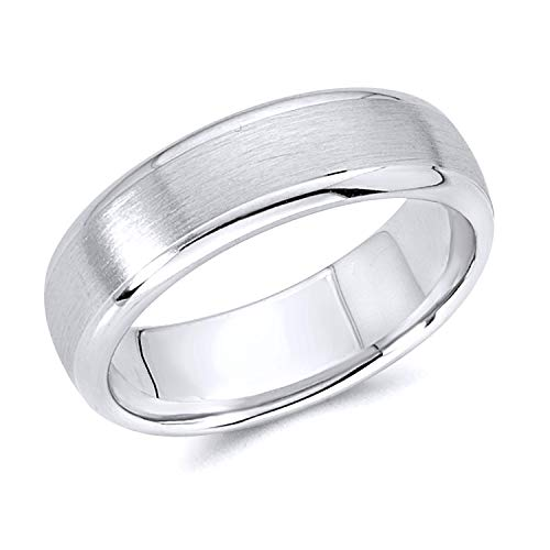 Wellingsale 14k White Gold Polished Satin 6MM Rounded Edge Comfort Fit Wedding Band Ring - Size 8