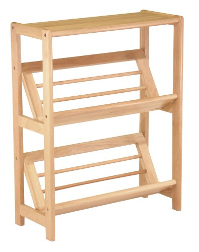 Winsome Wood 82430 Juliet Shelving Natural - 2-tier bookshelf holds books at upward slant for easy viewing Made of solid beechwood with natural finish Open back and sides offer airy, contemporary look - living-room-furniture, living-room, bookcases-bookshelves - 41mMApEtWGL -