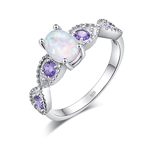 CiNily White Fire Opal Amethyst Women Jewelry Gemstone Silver Ring Size 5-11 (11)