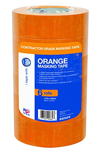 Intertape Polymer Group PG505-36 Contractor Grade Orange Masking Tape, 1.41-Inch x 60-Yard, Pack of 6 Intertape Masking Tape
