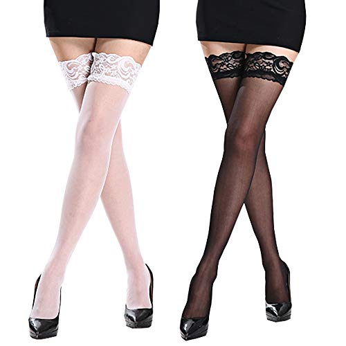 NORMOV Lace Thigh High Stockings for Women Ladies (Thighs-Black+White) -
