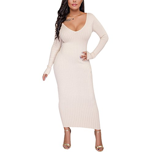 's Sexy V Neck Long Sleeve Bodycon Rib Knit Sweater Maxi Dress White M (Rib Knit Dress)