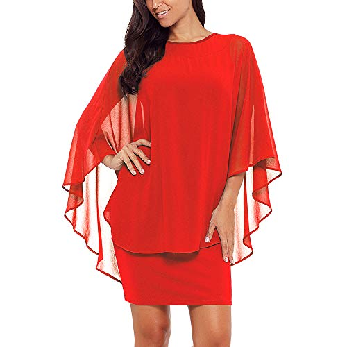 SEBOWEL Women's Chiffon Overlay Ruffle Sleeve Party Cocktail Bodycon Mini Dress Orange L