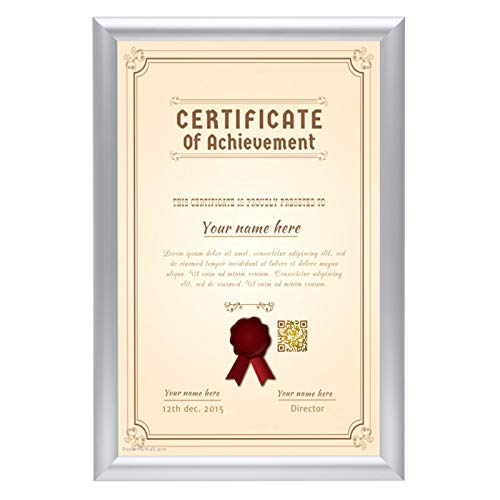 SnapeZo Diploma Frame 11x17 Inches, Silver 1 Inch Aluminum Profile, Front-Loading Snap Frame, Wall Mounting, Sleek Series