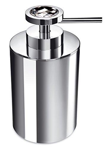 Moonlight Round Chrome Soap Lotion Dispenser Pump for Bathroom, Kitchen W/ Swarovski Crystals (White Diamond) by W-Luxury