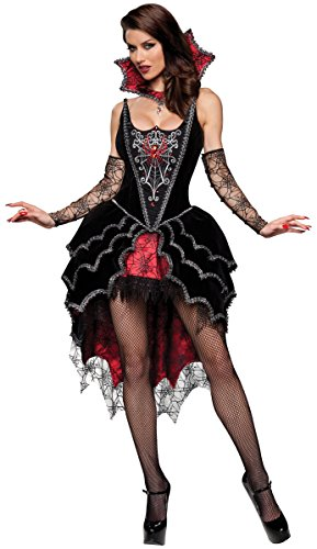 InCharacter Costumes Women's Webbed Mistress Costume, Black/Red,