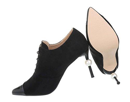 Damen Schuhe Stiefeletten High Heels Pumps Schwarz