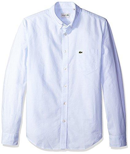 Lacoste Men's Long Sleeve Oxford Bengal Stripe Regular Fi...