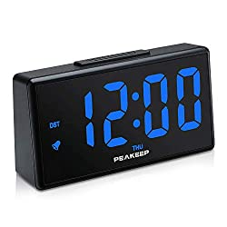 PEAKEEP Night Light Plug in Digital Alarm Clock with USB Charger, Dimmer, Day, DST (Blue LED)