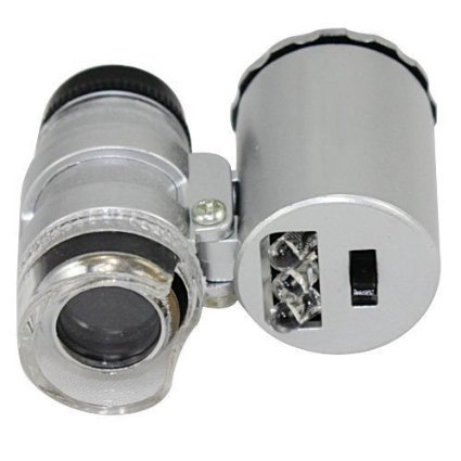 Toch 60X Mini Illuminated Jewelers Microscope Magnifier Adjustable Loupe with LED & Fluorescence Lights