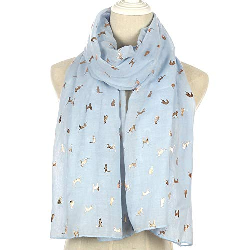 Cherryi Scarf Women Scarves Shiny White Navy Yellow Bronzing Foil Gold Cat Scarf Shawl Hijab,Sky Blue ()