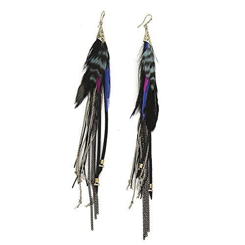 Badu Feather Handmade Earrings Women Bohemian Natural Jewelry (Black)