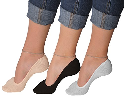 Women's 6 Pairs Truly No Show Liner Socks ~ Low Cut Invisible Anti Slip Socks ~ For Flats And Loafers By Juccini (Mix Colors, Pack of ()