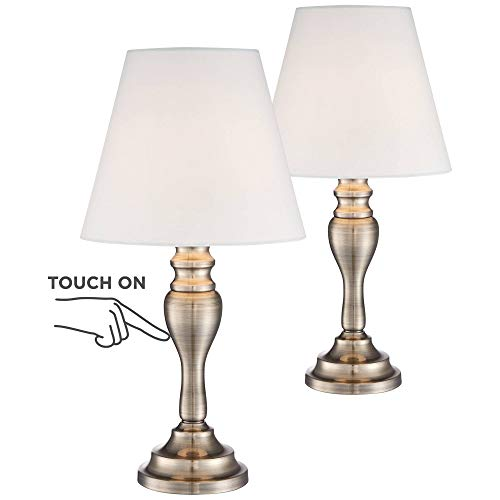 Traditional Accent Table Lamps 19 1/4 High Set of 2 Brass White Empire Shade Touch On Off for Bedroom Bedside Office - Regency Hill