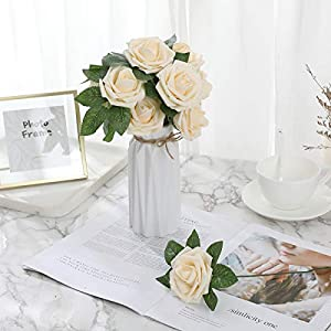 DerBlue 60pcs Artificial Roses Flowers Real Looking Fake Roses Artificial Foam Roses Decoration DIY for Wedding Bouquets Centerpieces,Arrangements Party Home Decorations 5