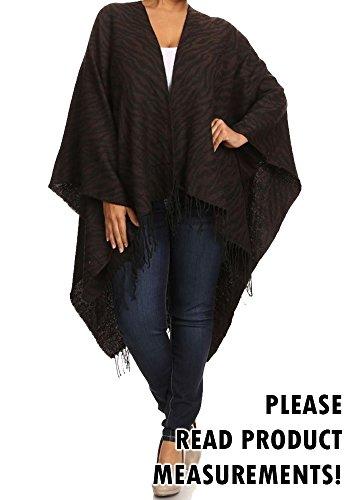 Women's Plus Size Zebra Print Poncho Sweater Fringe Trim Oversized Sweater (Plus One Size, Black)