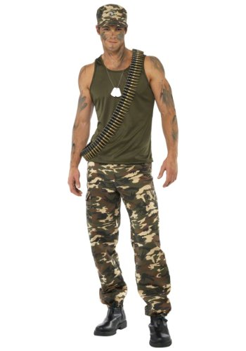 Khaki Camo Costume Male Costume Mens Size 42-44 L (Army Man Costume)