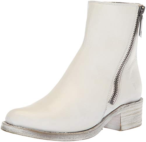 (FRYE Women's Demi Zip Bootie Ankle Boot, White Polished Soft Full Grain, 10 M US)