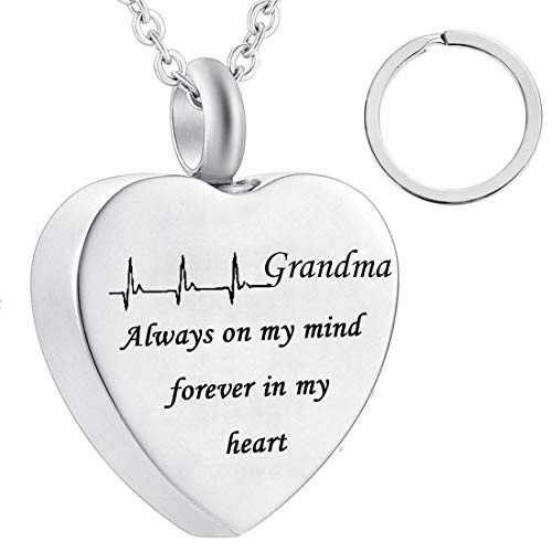 misyou dad and mom Cremation Jewelry Cardiogram Necklace Silver Always in My Heart Memorial Necklace Ashes Keepsake Pendant - Keepsake Grandma Best