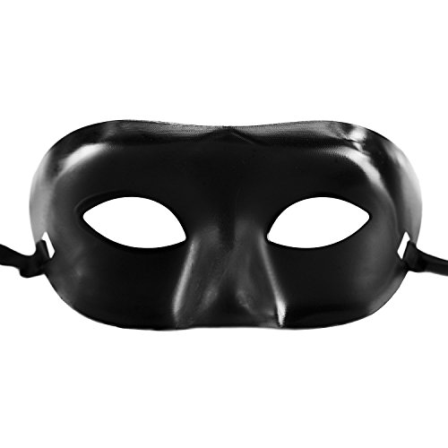AStorePlus Fancy Zorro Black Mask, Opera Mardi Gras Party Bandit Mask Halloween Cosplay Costume Accessory -