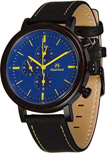 Maui Kool Steel and Wood Hybrid Chronograph Watch for Men Wailea Collection Leather Band Bamboo Box (W2 - Blue and Yellow)